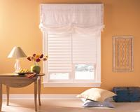 Vignette Roman Shades by Hunter Douglas -- Austrian Shade Top Treatment In White-- Delray Beach Florida --