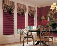 Manalapan Florida Residence with Burgundy Hunter Douglas Vignette Modern Roman Shades/Blinds in the Hobbled Version -- Coordinating Gavin Austrian type top treatments included