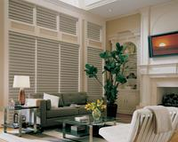 Lantana Florida -- Hunter Douglas Vignette Modern Roman Shades -- Windows and Transom area -- Complementary Room Color